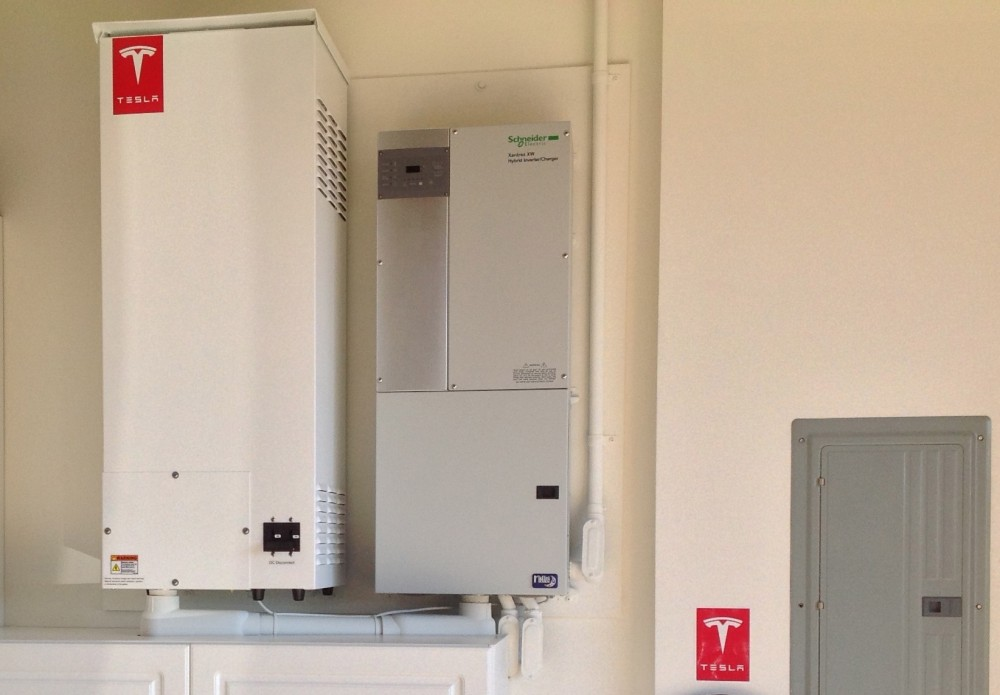 10 MwH Tesla battery installed in a residence to support a SolarCity energy system.
