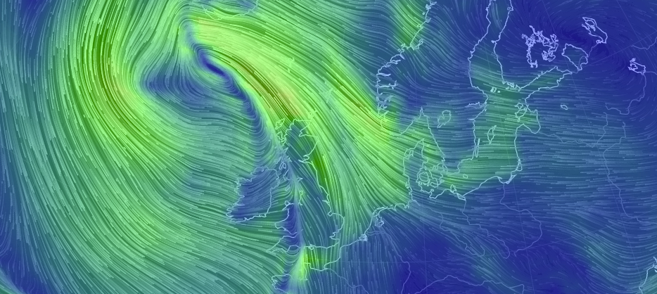 Wind flows off the coast of Northern European.