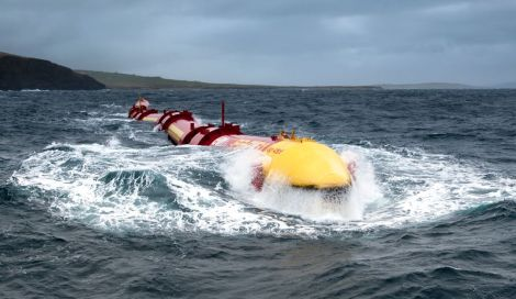Scotland is fostering research and development of ocean energy technologies with a view to harvesting the enormous potential of its seas. Pictured here is the Pelamis  system.