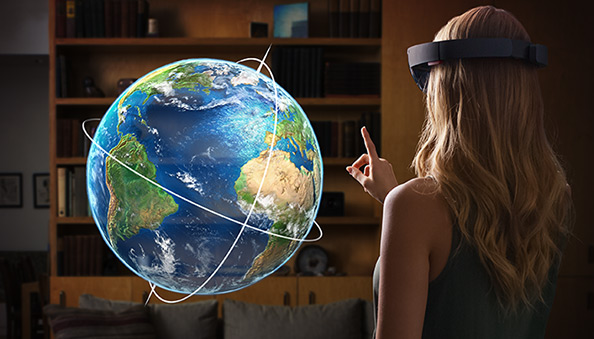 Project HoloLens globe