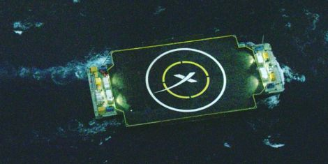 SpaceX's floating ship, the 'Just Read the Instruction', that the Falcon 9 first-stage landed on was positioned out at sea off the Florida coast.