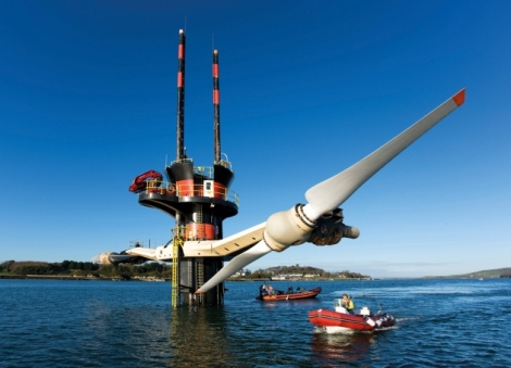 Tidal power system. Marine Current Turbines' tidal-energy converter in Strangford Lough, UK, generates power with underwater blades that can be raised for maintenance. Image rights: Siemens, via Nature.