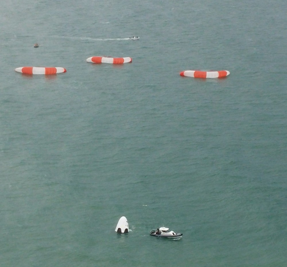 Less than two minutes after launch, the Dragon spacecraft splashed down into the Atlantic. Image rights: SpaceX.