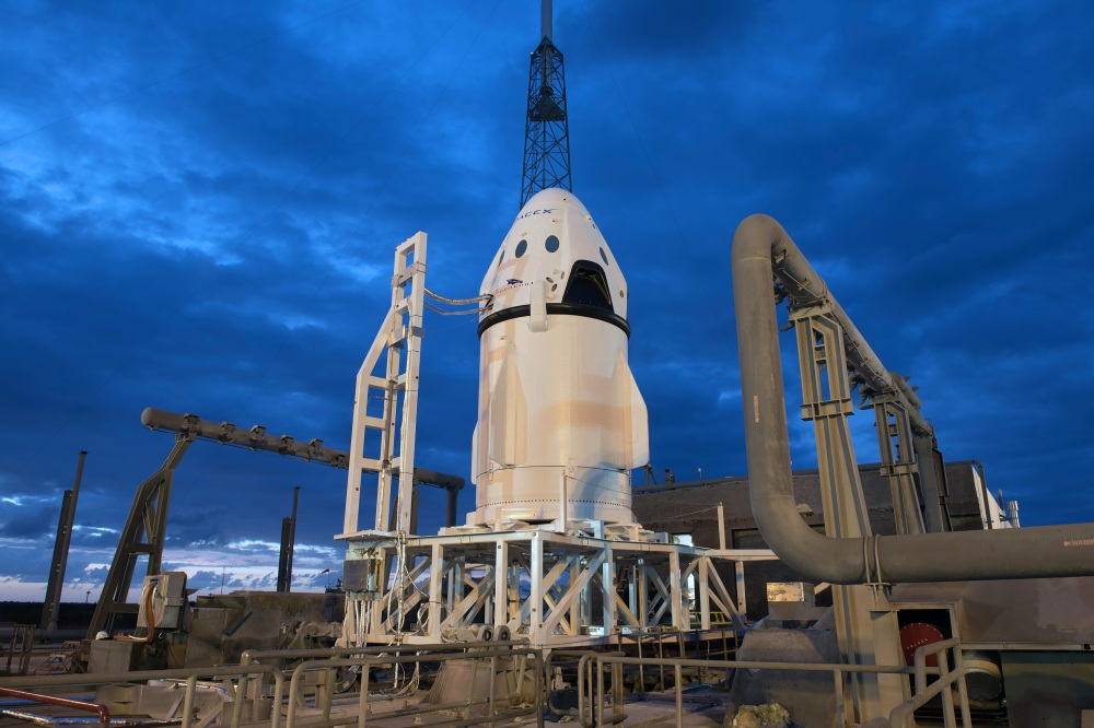 The Crew Dragon mounted on top of its truck module prior to launch. Image rights: SpaceX.