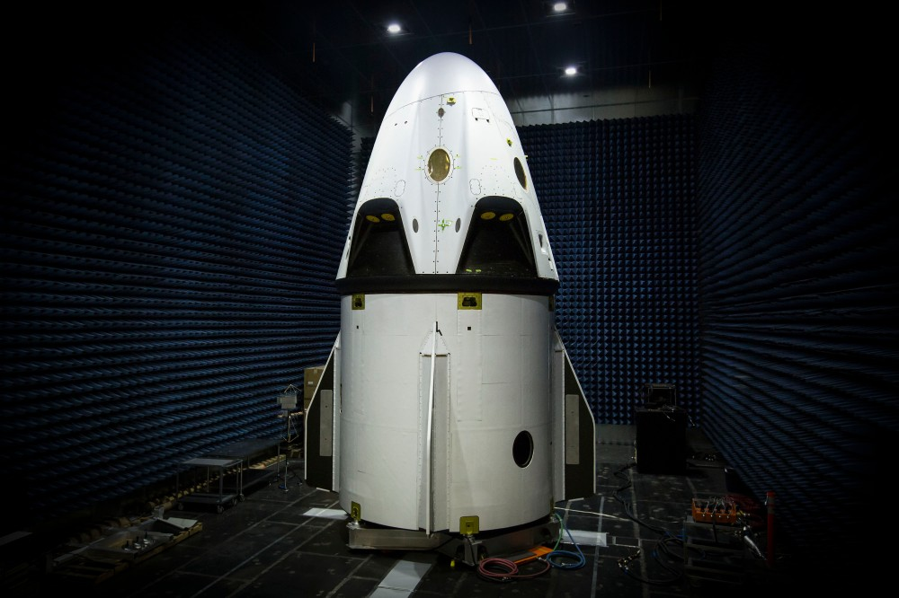 SpaceX Dragon V2 Pad Abort Vehicle, assembled and stacked on the Dragon trunk in a test chamber, January 2015.