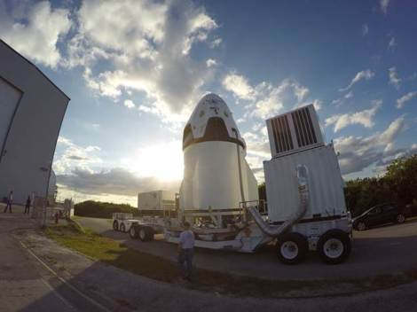 In preparation for tomorrow's  Launch Abort System test the Crew Dragon is moved to the launch pad at Cape Canaveral, Florida. Image rights: SpaceX.