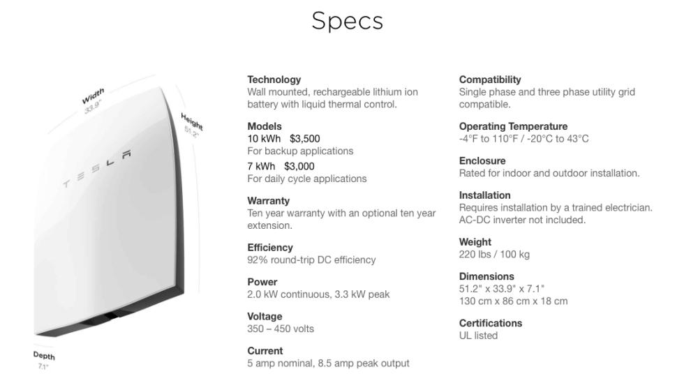 Tesla Energy | Powerwall specs