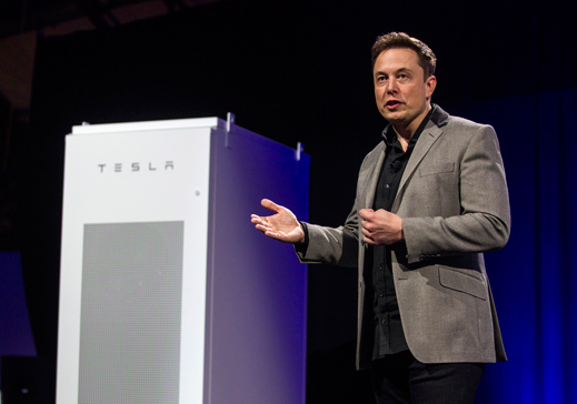 Elon Musk debuts Powerwall and Powerpack (pictured) at Tesla Headquarters in Hawthorne, California. Image rights:  Ringo H. W. Chiu | AP Images.